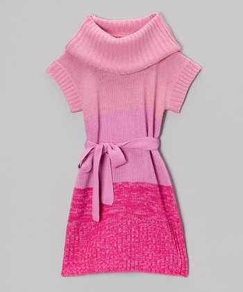Heart Pink Cowl Neck Dress - Girls