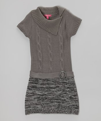 Medium Gray Split-Neck Sweater Dress - Girls