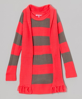 Diva Pink & Gray Stripe Sweater Dress & Scarf - Toddler & Girls