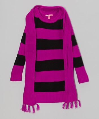 Very Berry Stripe Sweater Dress & Scarf - Toddler & Girls