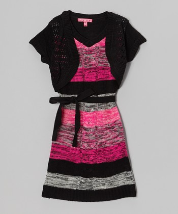 Lollipop Pink & Black Layered Sweater Dress - Infant & Girls
