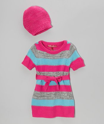 Lollipop Pink Stripe Sweater Dress & Beanie - Toddler