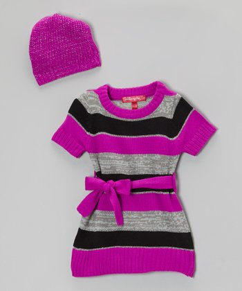 Very Berry Stripe Sweater Dress & Beanie - Infant & Toddler