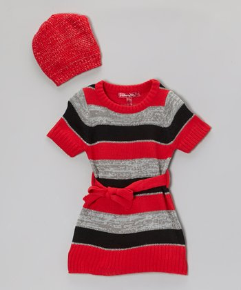 True Red Stripe Sweater Dress & Beanie - Infant & Toddler