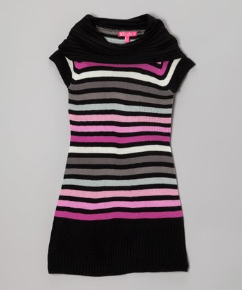Lollipop Pink & Black Stripe Cowl Neck Sweater Dress - Girls