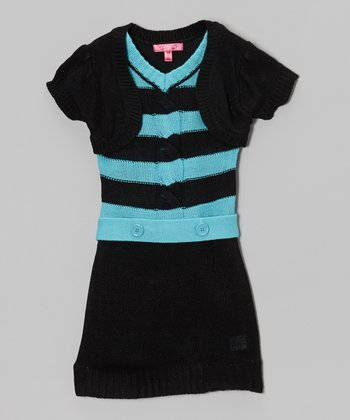 Bluebell Stripe Layered Sweater Dress - Girls