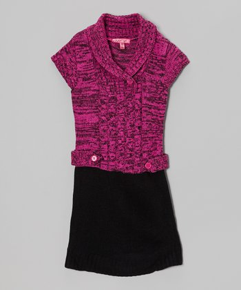 Rose Violet Shawl Collar Dress - Toddler & Girls