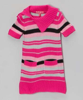 Lollipop Pink Stripe Sweater Dress - Toddler & Girls