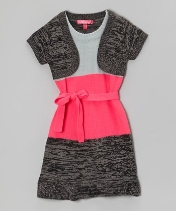 Knockout Pink Color Block Layered Dress - Girls