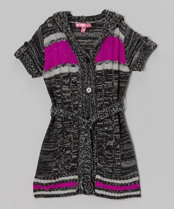 Black Marled Hooded Duster - Toddler & Girls