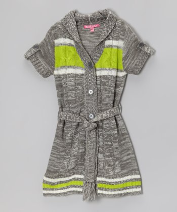Smoke Pearl Marled Hooded Duster - Toddler & Girls