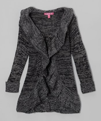 Black & Gray Ruffle Duster - Toddler