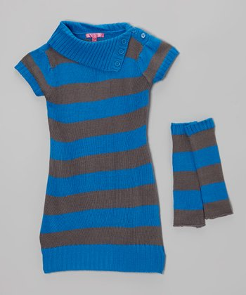 Electric Blue Stripe Sweater Dress & Arm Warmers - Girls