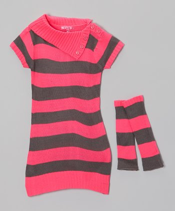 Knockout Pink Stripe Sweater Dress & Arm Warmers - Girls
