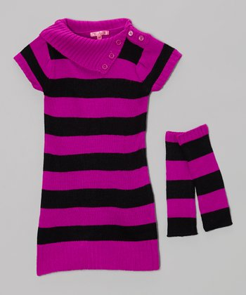 Very Berry Stripe Sweater Dress & Arm Warmers - Girls