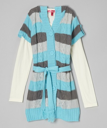 Regal Aqua Stripe Hooded Layered Duster - Girls