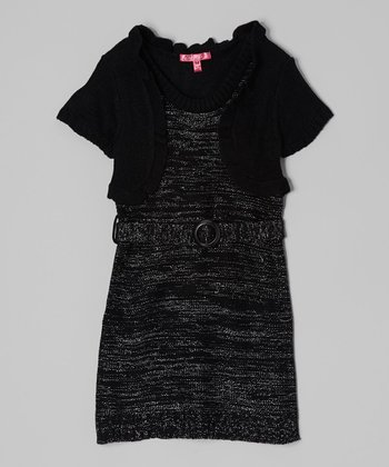 Black Belted Layered Dress - Girls