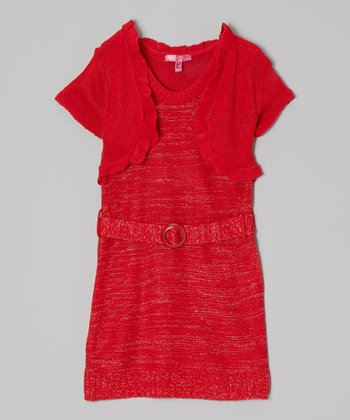 True Red Belted Layered Dress - Girls