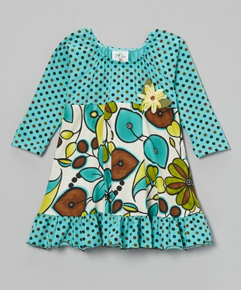 Teal Leaves Ruffle-Hem Dress - Toddler & Girls