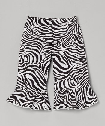 Black & White Zebra Ruffle Capri Pants - Toddler & Girls