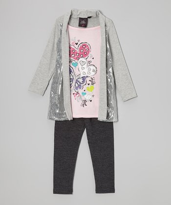 Gray Shimmer Layered Tunic & Leggings - Girls
