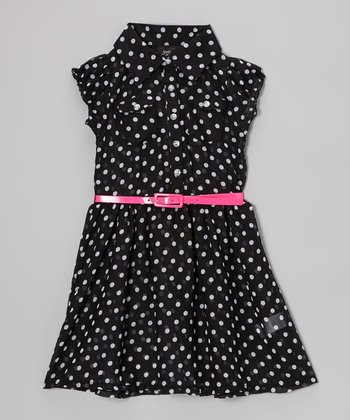 Black & White Polka Dot Belted Dress - Girls