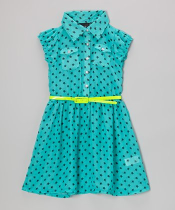 Black & Blue Polka Dot Belted Dress - Girls