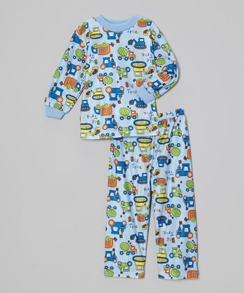 Light Blue Car Pajama Set - Toddler
