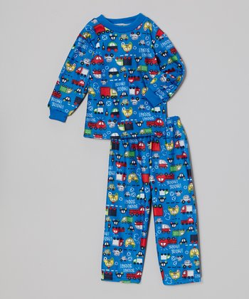 Dark Blue Truck Pajama Set - Toddler