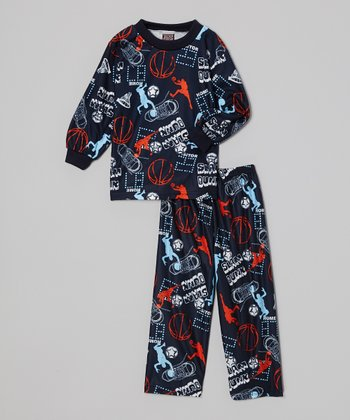 Navy Blue 'Slam Dunk' Pajama Set - Toddler