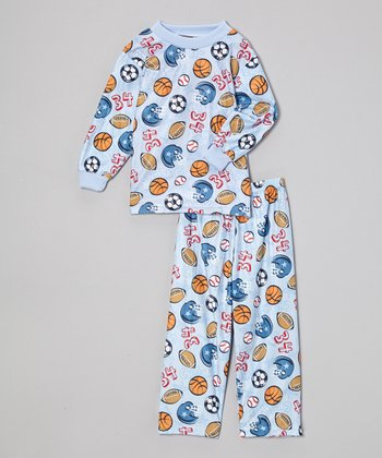 Light Blue '34' Sport Pajama Set - Toddler