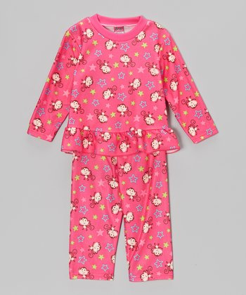 Hot Pink Monkey Pajama Set - Toddler