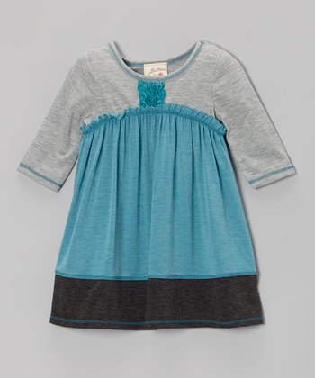 Teal & Charcoal Rosette Placket Dress - Girls