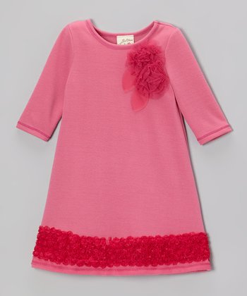 Pink Tulle Rosebud Ruffle Dress - Toddler & Girls
