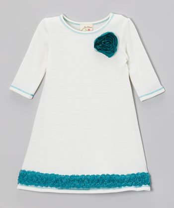 Ivory & Turquoise Tulle Rosebud Ruffle Dress - Toddler & Girls