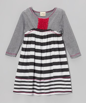 Heather Gray & White Stripe Rosette Placket Dress - Girls