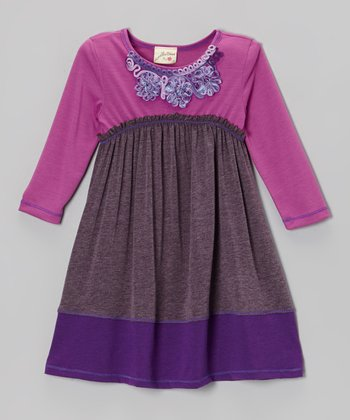 Eggplant & Orchid Curlicue Dress - Girls