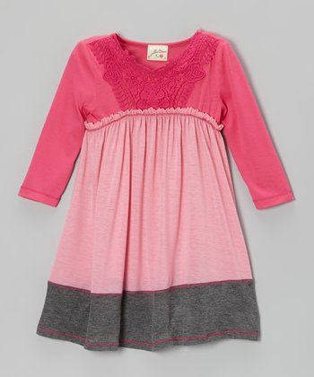 Pink & Heather Gray Lace Dress - Girls