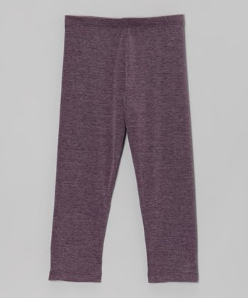 Heather Eggplant Leggings - Girls