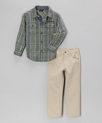 Gray Plaid Button-Up & Khaki Pants - Infant, Toddler & Boys