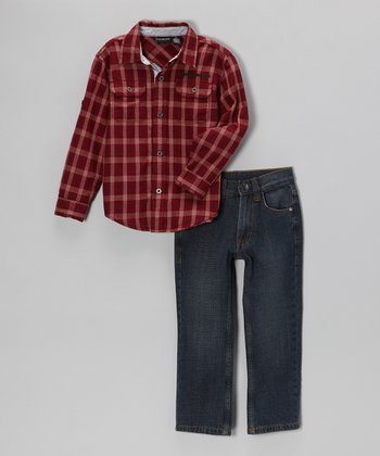Brick Plaid Button-Up & Jeans - Infant, Toddler & Boys