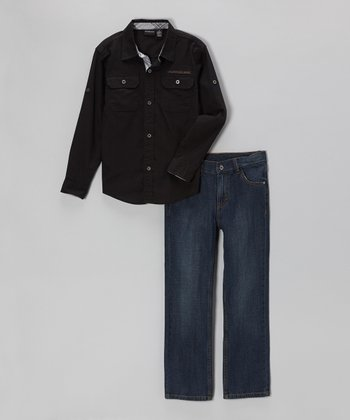 Black Button-Up & Jeans - Infant & Toddler