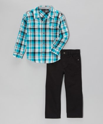 Teal Plaid Button-Up & Black Pants - Infant, Toddler & Boys