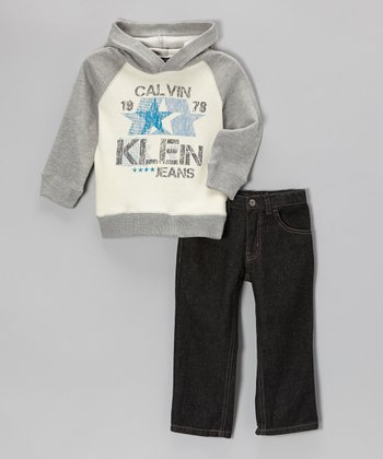 Gray Raglan Hoodie & Jeans - Infant, Toddler & Boys