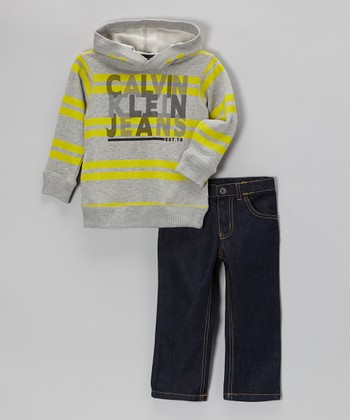 Gray & Yellow Stripe Hoodie & Jeans - Toddler