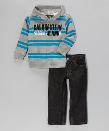 Gray & Teal Stripe Hoodie & Jeans - Infant & Toddler