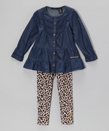 Denim Tunic & Leopard Leggings - Infant, Toddler & Girls
