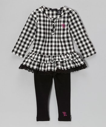 Black Plaid Ruffle Tunic & Leggings - Infant, Toddler & Girls
