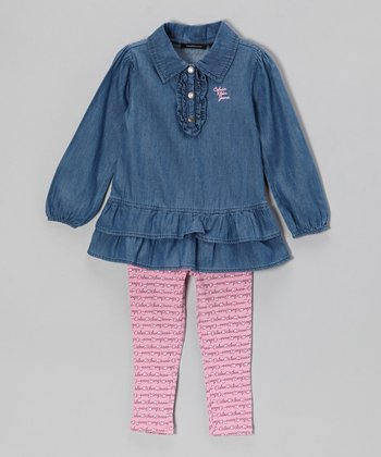 Denim Ruffle Tunic & Pink Leggings - Infant, Toddler & Girls