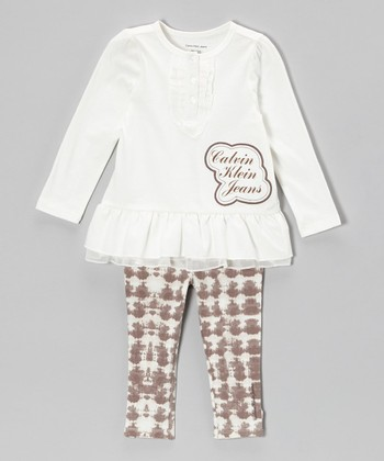 Cream Ruffle Tunic & Tan Leggings - Infant, Toddler & Girls